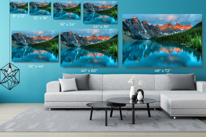 Large Framed Landscape Print Wall Decor Canada Mountain Lake Canvas Wall Art Aesthetic Room Decor Poster Print For Office And Home Decor.