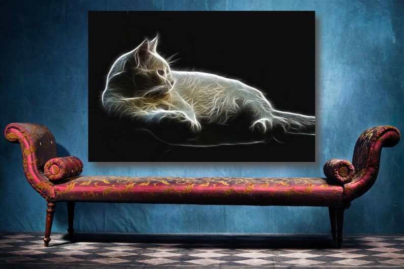 Cat Fractal Art Canvas Wall Art Large Framed Landscape Print Wall Decor Aesthetic Room Decor Poster Print For Office And Home Decor.