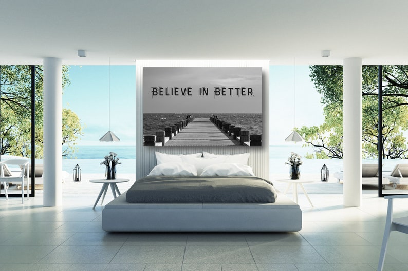 Large Framed Landscape Print Wall Decor Aesthetic Room Decor Poster Print For Home. Believe In Better Inspirational Quotes Wall Art Canvas