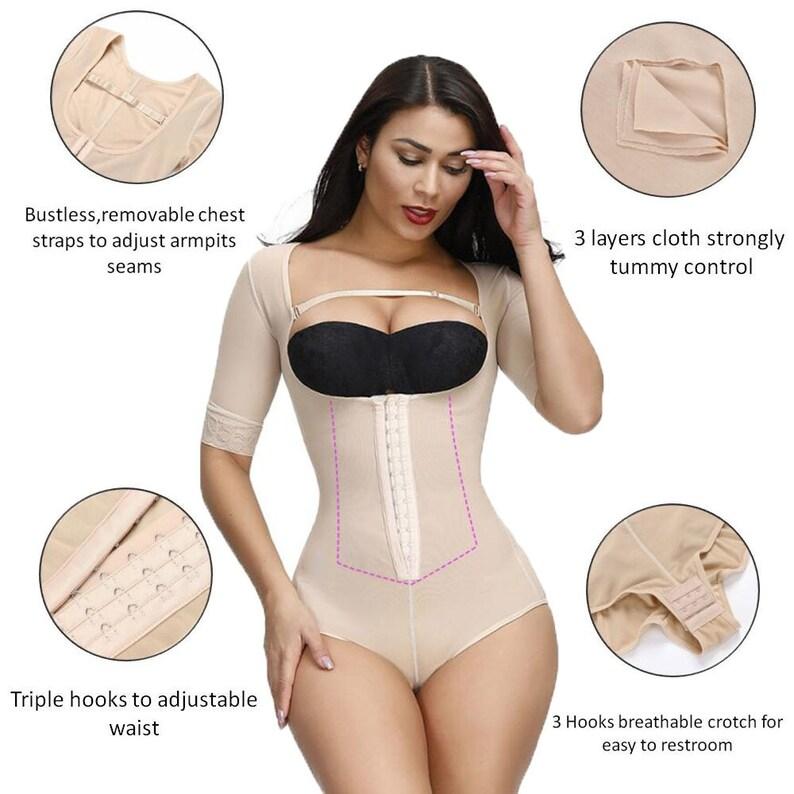 Liposuction Shaper Women/'s Shapewear Compression Garment Firm Body Shaper Control Bodysuit Girdle Shapewear Mid Thigh Bodysuit