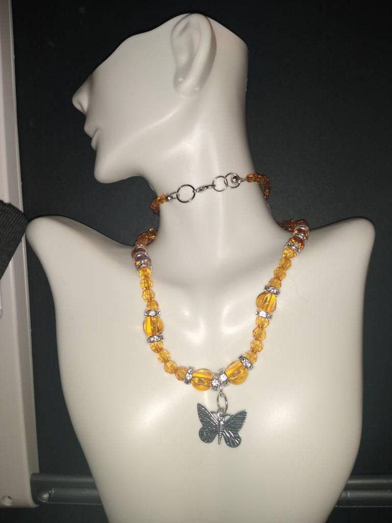 Beautiful beaded butterfly necklace.