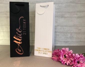 Personalised Gift Bag / Luxury White Gift Bag / Luxury Black Gift Bag / Gift Bag / Wedding / Birthday / Thank you / Bridesmaid/ Bottle Bag