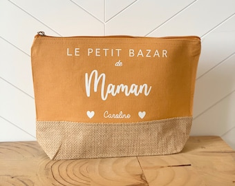 """Customizable jute pouch """"The little bazaar of MAMAN""""/Personalized kit / Gifts mom, granny, auntie, mistress, nanny, atsem"""