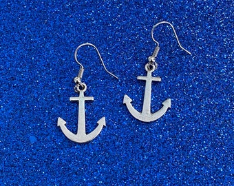 Handmade Silver Anchor Earrings
