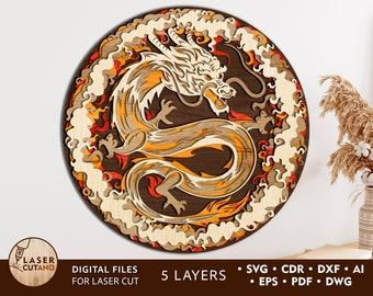 CHINESE DRAGON Laser Cut File SVG Cricut, Layered Laser Cutting and Mandala Laser Cut, Dragon Laser Cut Vector cricut files cnc file| #190