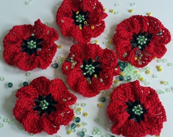 Knitted brooch red knitted flowers poppy handmade from hypoallergenic in boho style red bridesmaid gift wedding mothers day gift graduation