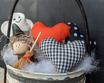 Little Pillows Halloween Tiered Tray Witch | Hearts of Love Puff Pillows | Bowl Filler  | Rae Dunn Inspired | FREE SHIPPING
