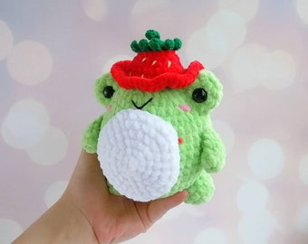 Crochet frog  Strawberry Frog Frog in Strawberry hat Cute froggy plush Pink Green frog Frog stuffed animal Crochet plush Frog gifts