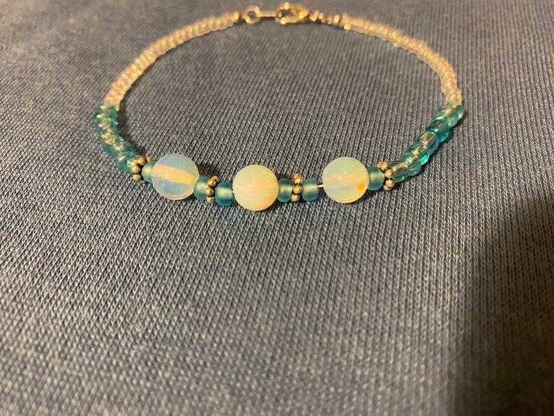 Baby blue moonstone bracelet