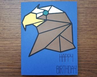 Geometric Eagle Birthday Card   Masculine Birthday Card for Any Age