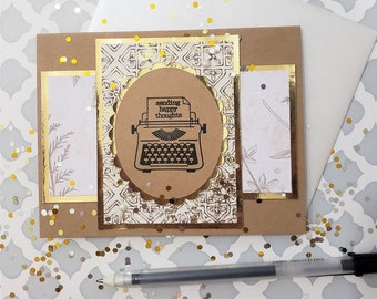 Sending Happy Thoughts Typewriter Card   Happy Card for Many Occasions