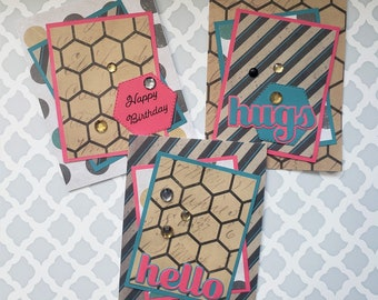 Set of 3 Geometric Cards   Hello, Hugs, Happy Birthday Hexagon Rectangle Geometric Greeting Cards
