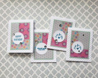 Set of 4 Fun Pattern Cards   Greeting Card Set for Any Occasion