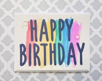 Happy Birthday Rainbow Watercolor Card   Birthday Card for Any Age