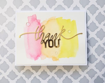 Thank You Watercolored Card   Artistic Thank You Card