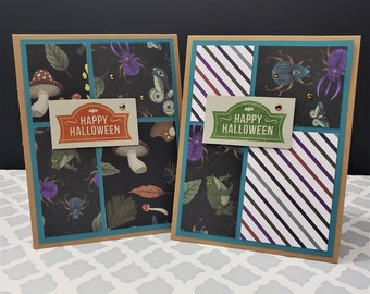 Set of 2 Happy Halloween Patterned Paper Cards   Fun Spooky Cards for Autumn