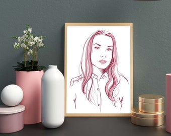 Man or woman digital portrait from photo. Commission portrait instant png digital download. Personalized clipart for custom painting gift.