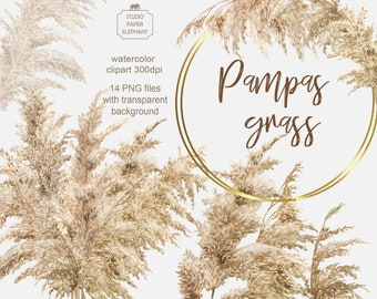 Pampas Grass clipart, Boho Watercolor Wreaths Bohemian, Wedding Invitation frame clipart, Neutral decor PNG,instant download