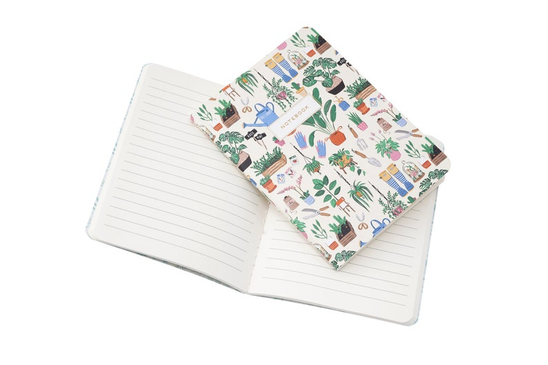 Set of 2 A6 Lined Paper Notebooks with Gardening and House Plant Illustration and Gift Wrap