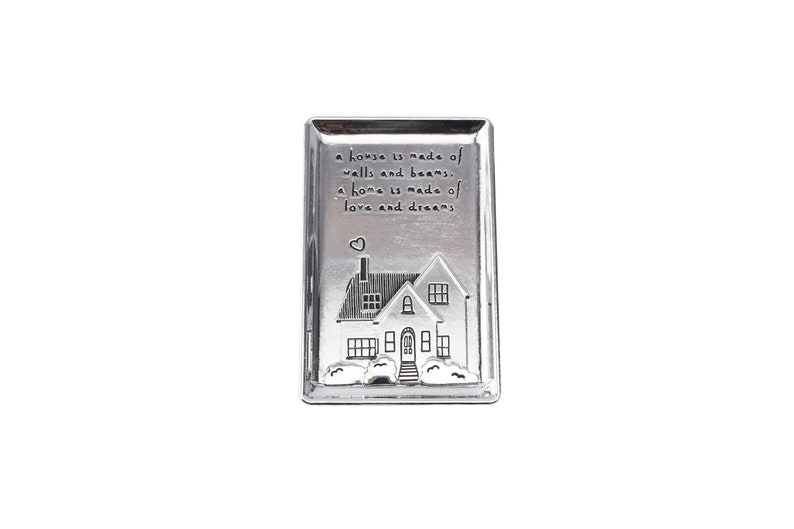 \u2019 a home .. \u2018a house is made of walls and beams in Gift Bag Silver Finish JewelleryTrinket Dish with an Engraved Design and Sentiment