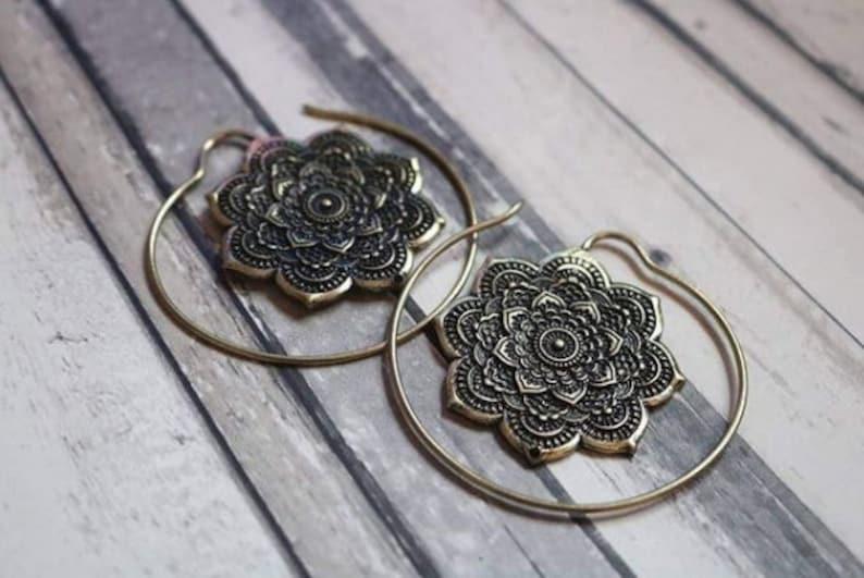 Brass Lotus Flower Mandala Hoops PAIR