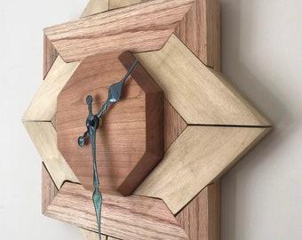 Interlocking Frame Clock,Mixed hardwood clock with with Cherrywood Centre. Unusual Wall art clock