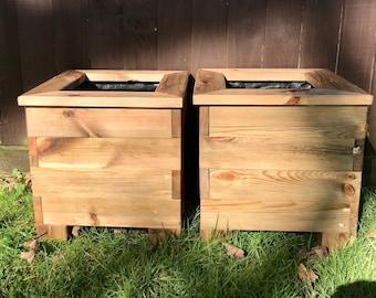 Pair of Wooden Planter Boxes, Garden Troughs, springtime shrubs flowers, organic gardening.