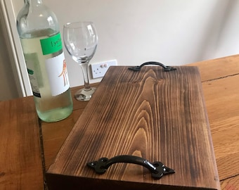 Chunky wooden serving platter, serving tray, charcuterie board, cheese board, gift, natural finish also suitable for vegans