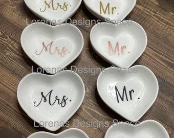 Mr /& Mrs Love Heart Ice Cream Cereal Food Dessert Bowls /& Spoon Wedding Gift Set