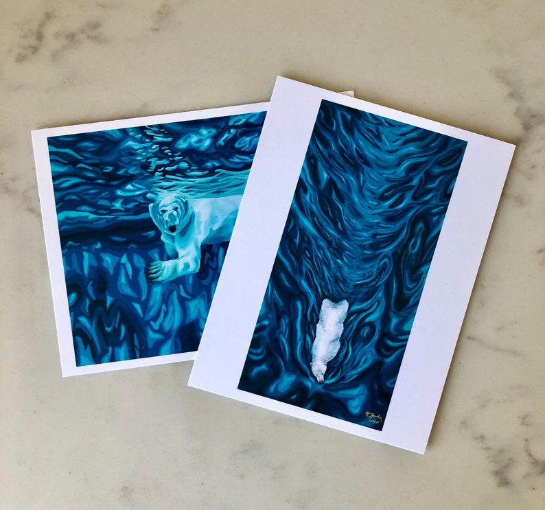 Art postcard print Polar Bear Post Card Wildlife Painting Small Art Print Frigid Waters Polar Bear Art