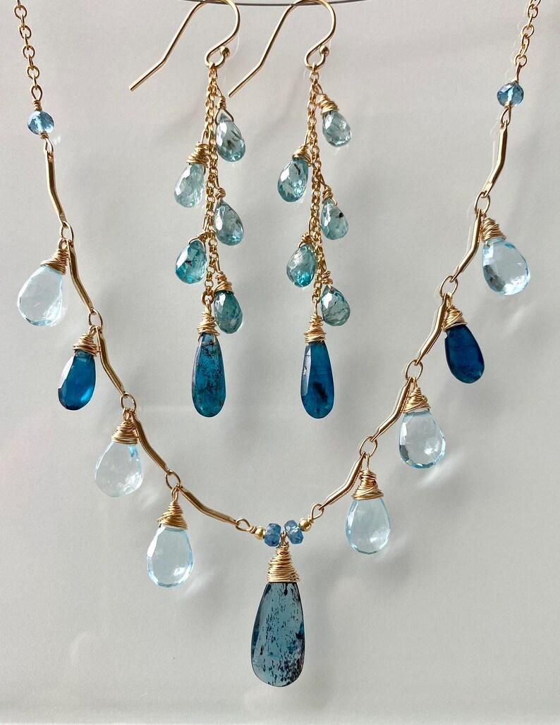 Gift for her London blue Topaz Blue Kyanite Zircon necklace and earrings Blue Earrings Gemstone Cluster Earrings