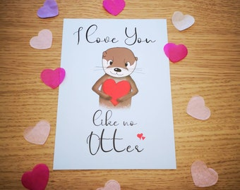 I love you like no Otter   Postcard DIN A6   climate neutral   The Other Otter Shop