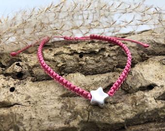 Macrame bracelet with a silver star
