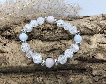 Rock Crystal/Morganite Gemstone Bracelet