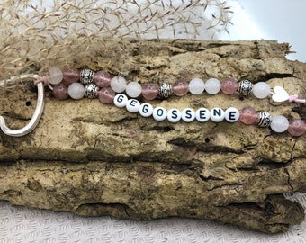 Personalised keychain made of gemstones jade/strawberry quartz and silver elements and names
