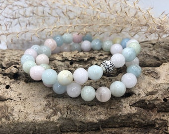 Wrap bracelet made of morganite gemstones with a silver pearl