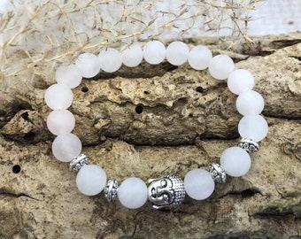 Rose quartz frozen gemstone bracelet with Buddha