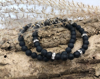 Personalized partner bracelets made of matt onyx - for the lady with rhinestones