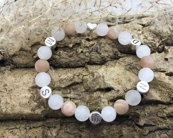 Personalized Rose Quartz/Moonstone Gemstone Bracelet
