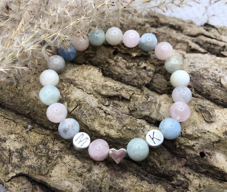 Personalized Morganite Gemstone Bracelet image 1