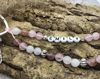 Personalised keychain made of gemstones strawberry quartz/jade/rose quartz and silver elements