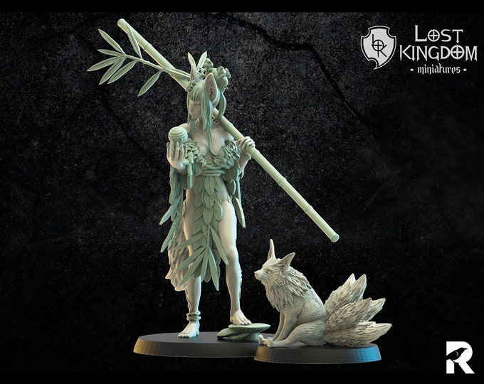 Hanako Kitsune Kyubi   4K RESIN 3D Printed Tabletop Miniature for Role-playing Games and Collector Displays   Lost Kingdom Miniatures