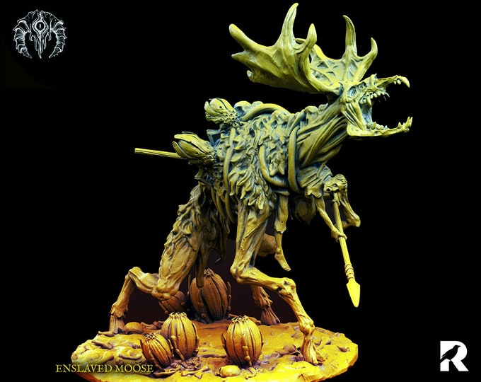 Enslaved Moose   4K RESIN 3D Printed Tabletop Miniature for Role-playing Games and Collector Displays   Bestiarum Miniatures