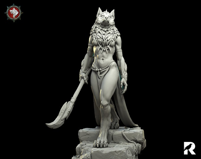 Oleana Werewolf Queen   4K RESIN 3D Printed Tabletop Miniature for Role-playing Games and Collector Displays   White Werewolf Tavern