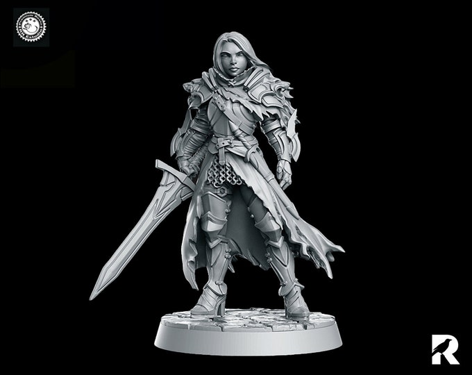 Lydia the Lioness   Female Sword Fighter   4K RESIN 3D Printed Tabletop Miniature for Role-playing Games and Collector Displays   RN Estudio