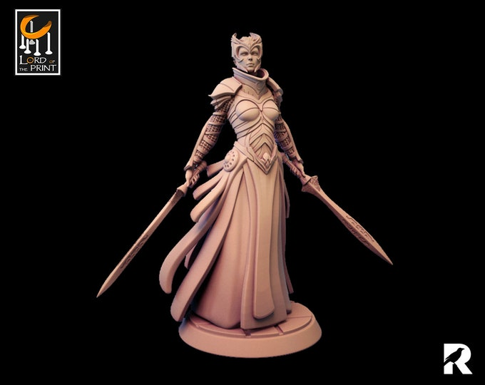 Female Knight | Lord of the Print | 3D Printed | RESIN | Fantasy | DnD | RPG | Tabletop | Gaming | Miniatures