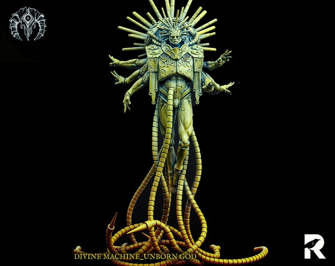 Divine Machine Unborn God | 4K RESIN 3D Printed Tabletop Miniature for Role-playing Games and Collector Displays | Bestiarum Miniatures