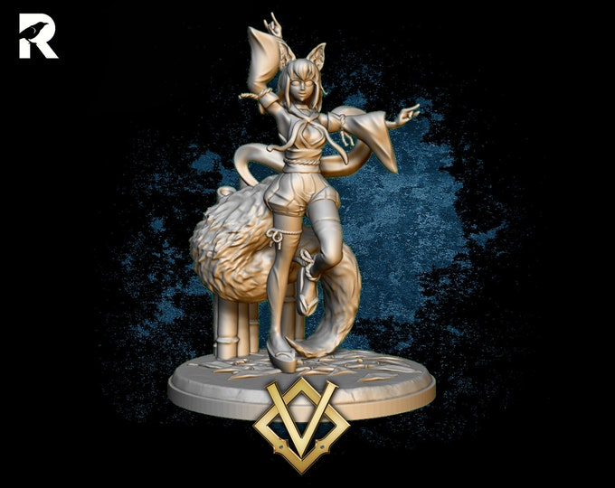 Kitsune Fox Girl | 4K RESIN 3D Printed Tabletop Miniature for Role-playing Games and Collector Displays | Village's Hope Miniatures
