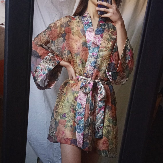 Vintage 80s Victoria's Secret Sheer Floral Robe
