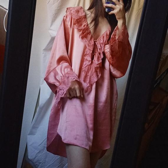 Vintage 80s Victoria's Secret Pink Ruffle Nightgow